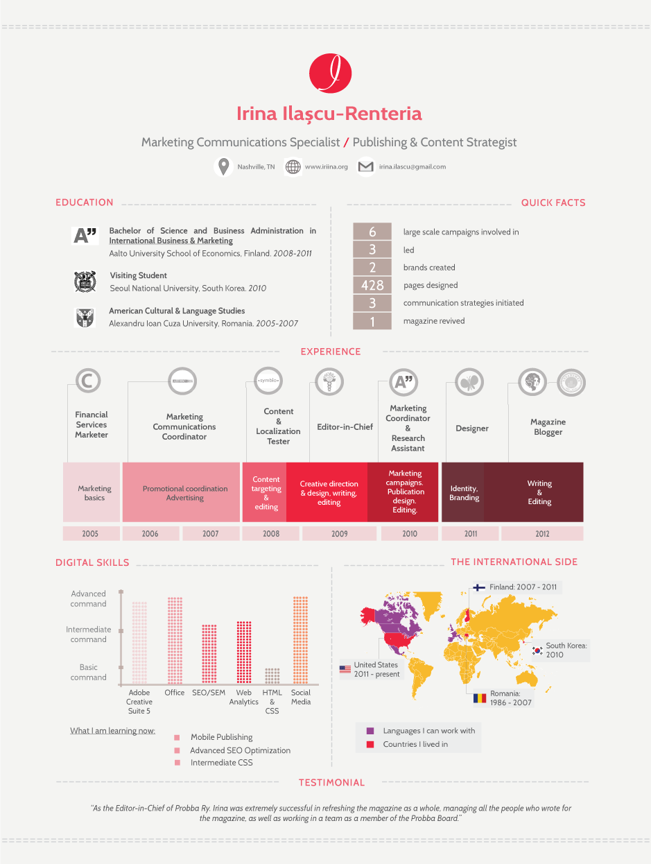 I design infographic resumes - I could do something like this ...