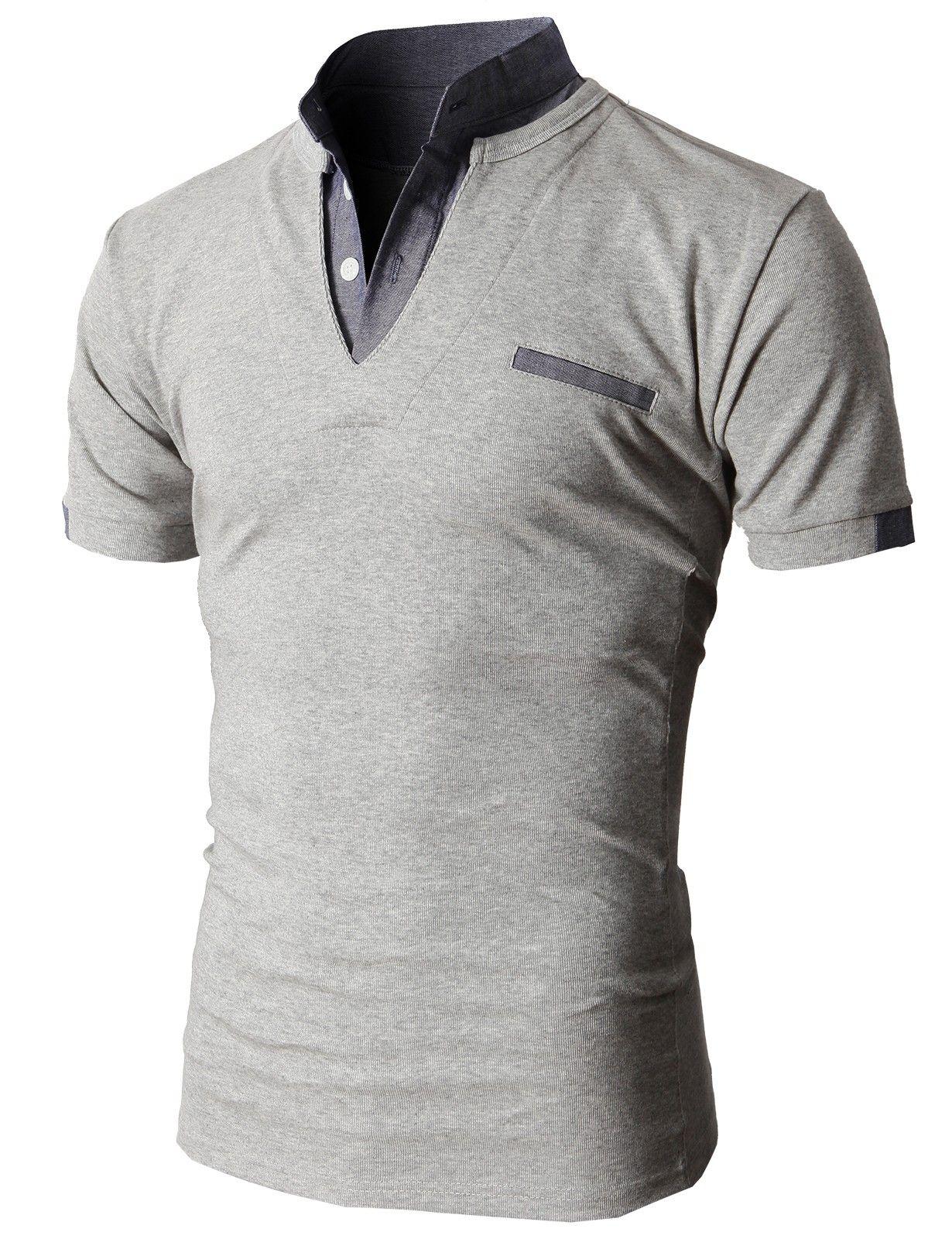 Doublju Men s Unique Hybrid Fashion Polo Shirts with Short Sleeve  (KMTTS0100)  doublju b691ad41fd7