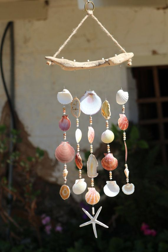 Driftwood seashell wind chimes handcrafted wind chimes for Shell wind chimes diy