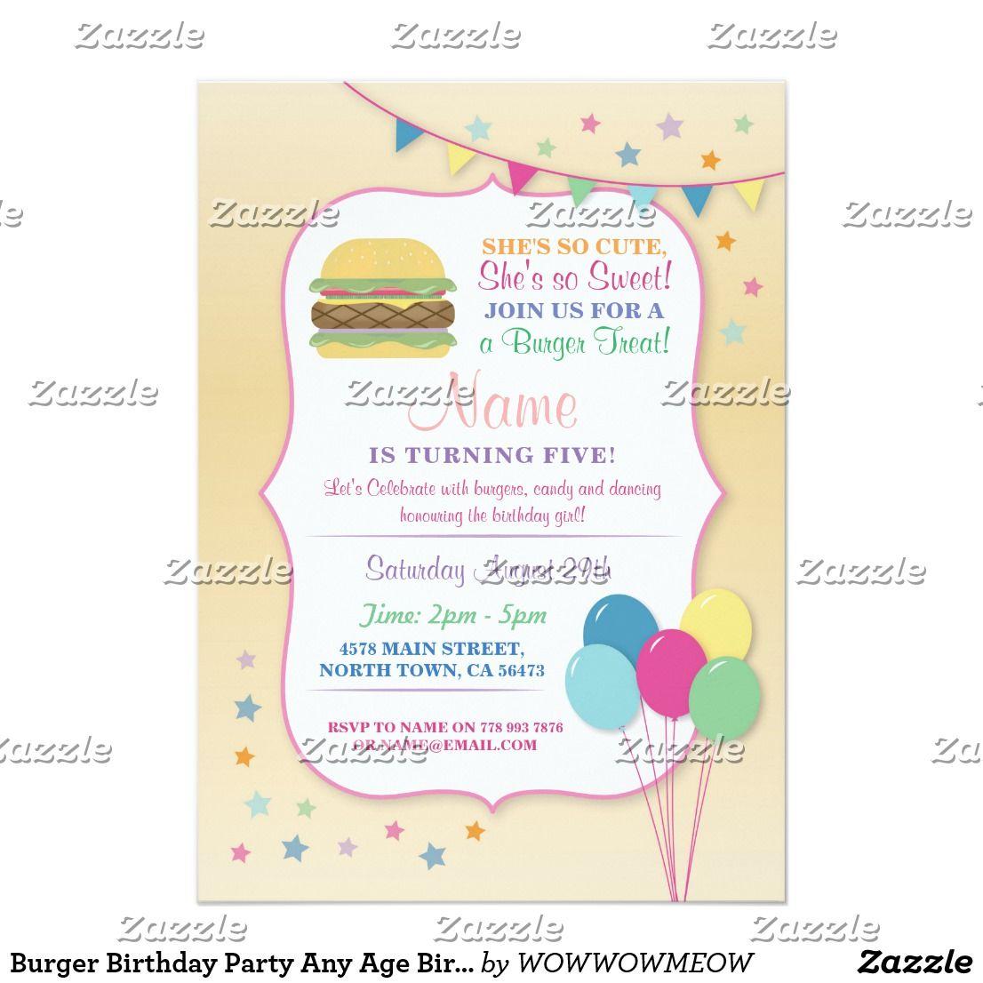 Burger Birthday Party Any Age Birthday Invite | ZAZZLE: Children\'s ...