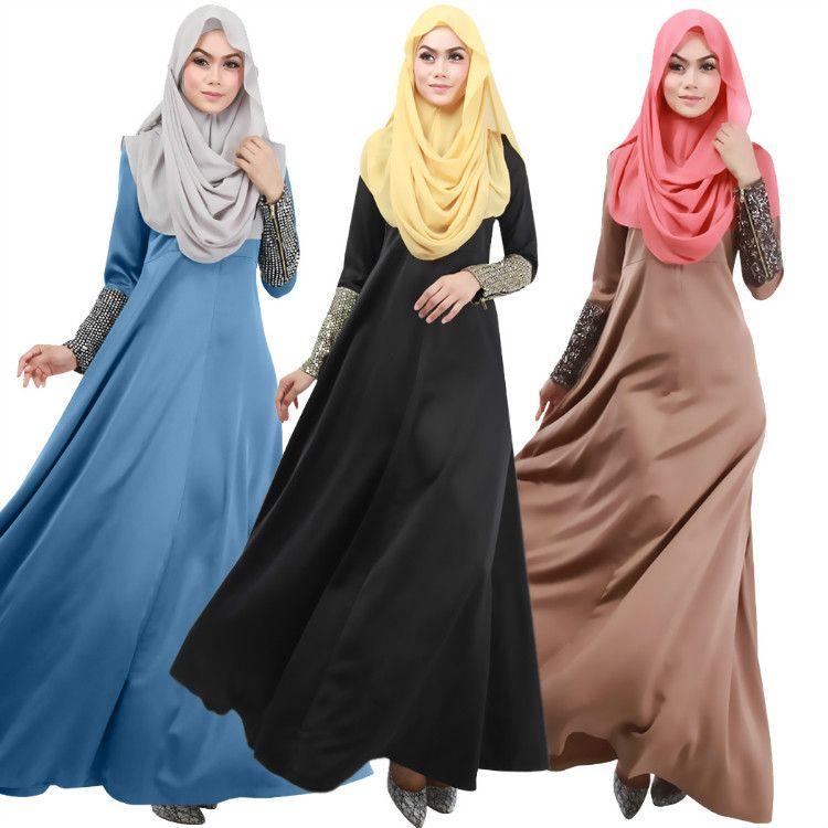 2015 Maxi Jurk Arabic Long Sleeve muslimah Long Dress Malaysia Turkish  Hijabs Islamic Robe Arabe Abaya Dress Designs f9eddd970404