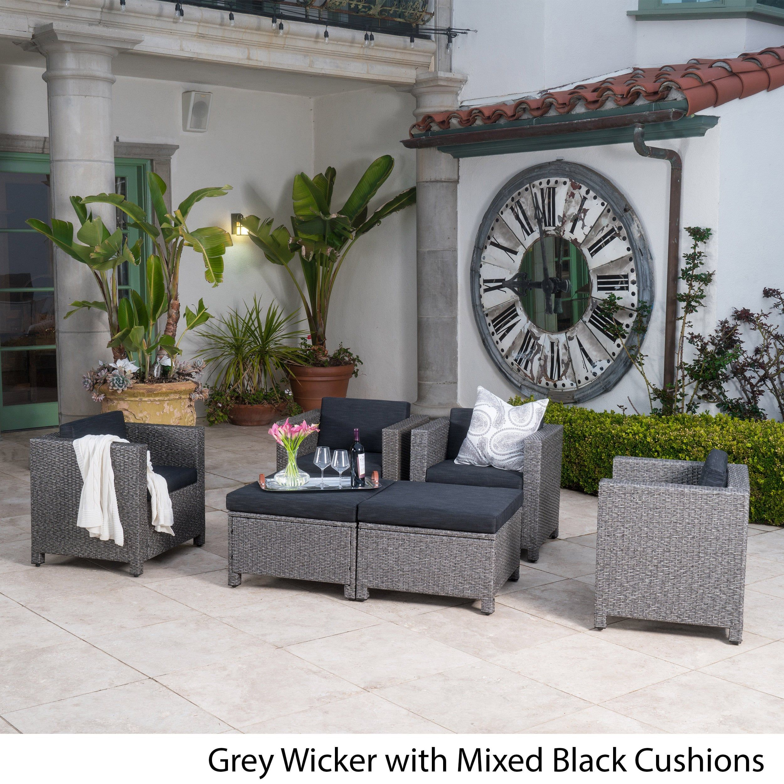 Puerta Outdoor 6 Piece Wicker Seating Set With Cushions By