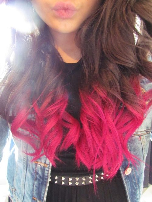 Brunette with Pink Dip Dyed Hair- how pink looks with brown. I want this color, but applied balayage so the color's more gradual