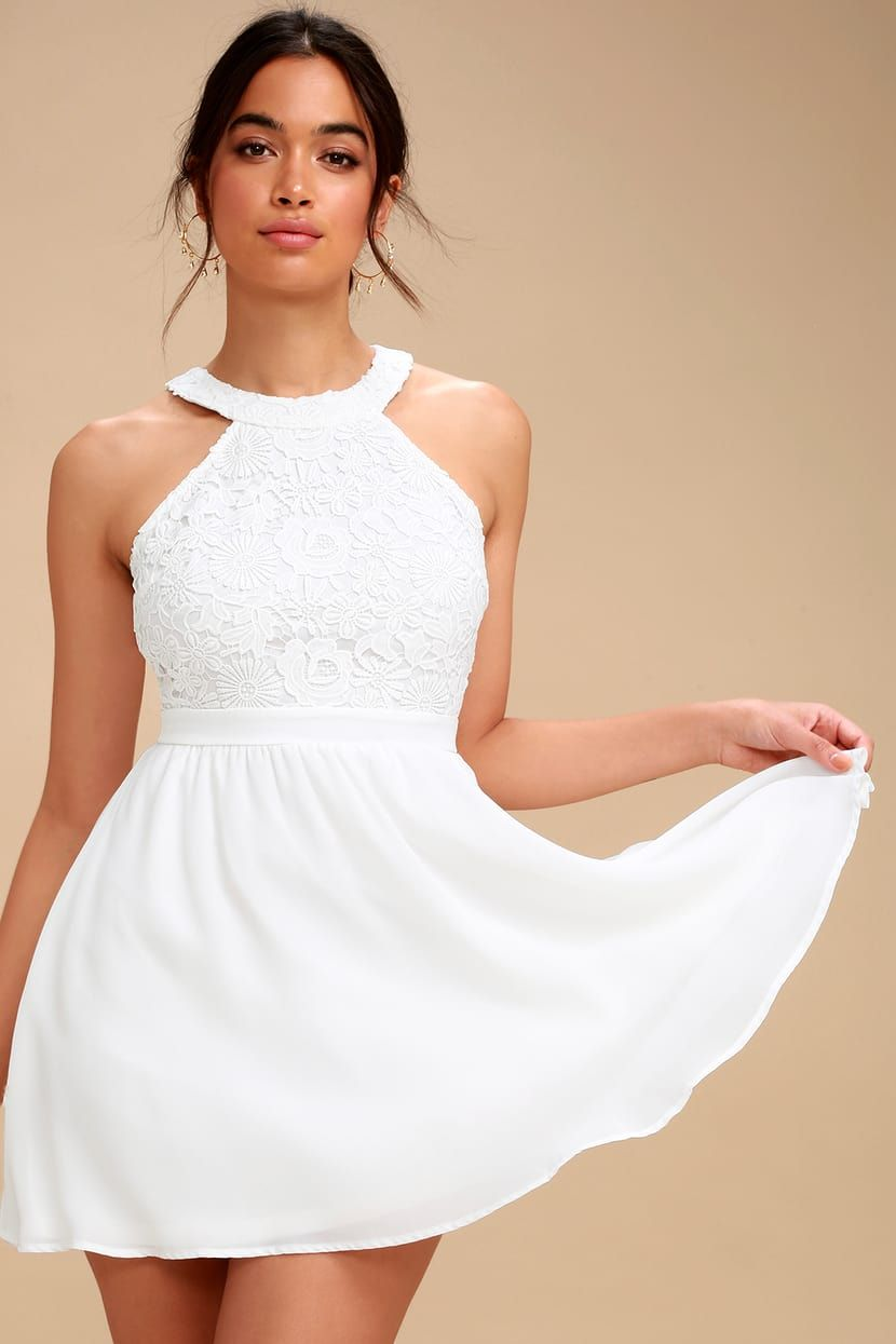 7151cddb Lulus | Lover's Game White Lace Skater Dress | Size Medium | 100 ...
