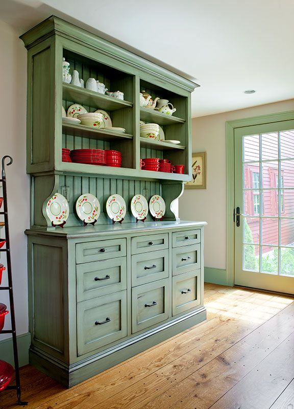 Captivating Custom Built In Hutch With Inset Shaker Style Drawers, Open Shelving, And  Beadboard Back With A Faux Painted Distressed Finish In Wayland, ...