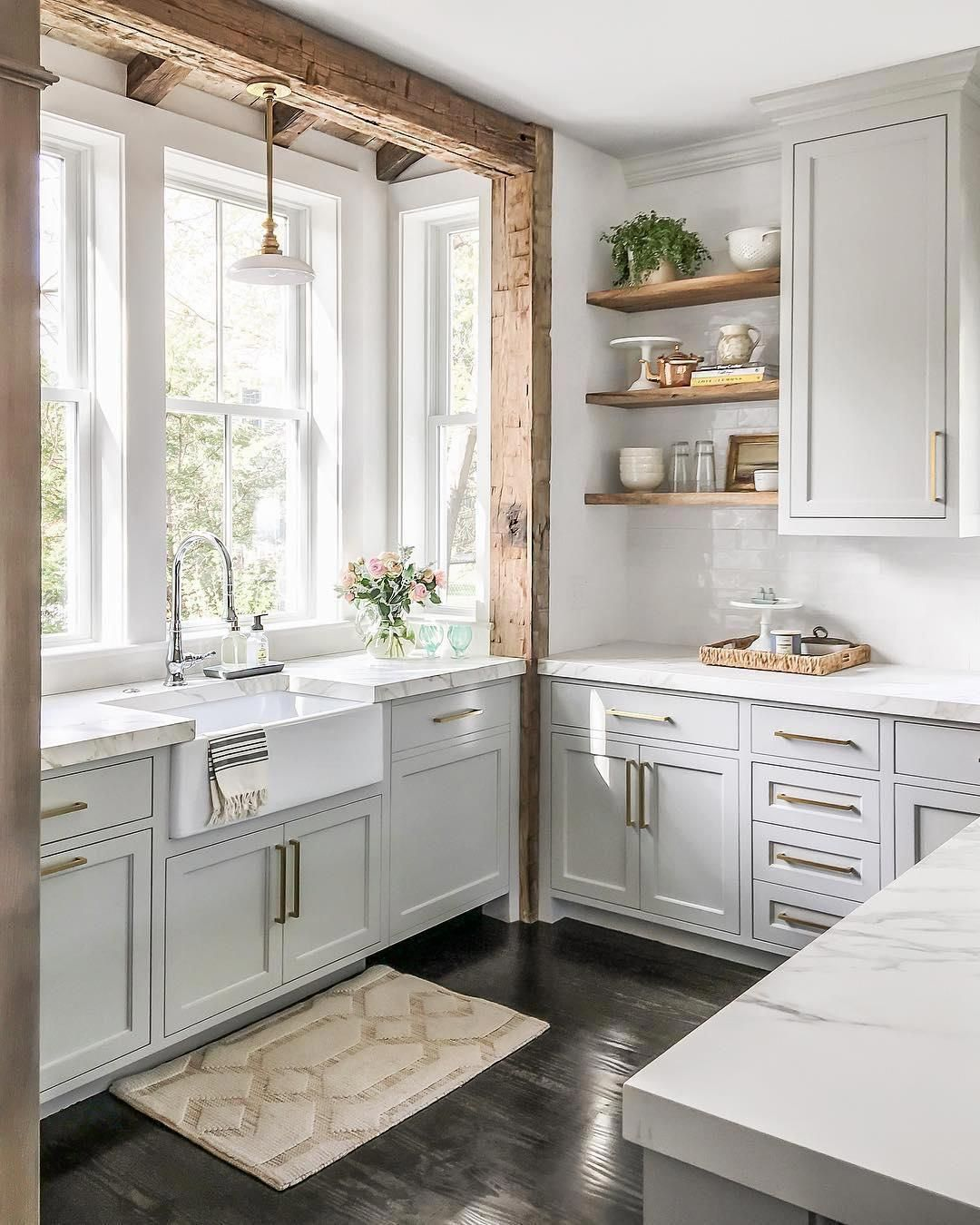 Reclaimed Wooden Beams Surround This Dreamy Farmhouse Sink Area Featuring The Boston Pendant By E F In 2020 Farmhouse Kitchen Design Kitchen Design Small Kitchen Style