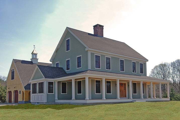 New england farmhouse w wrap around porch hq plans for Simple farmhouse designs