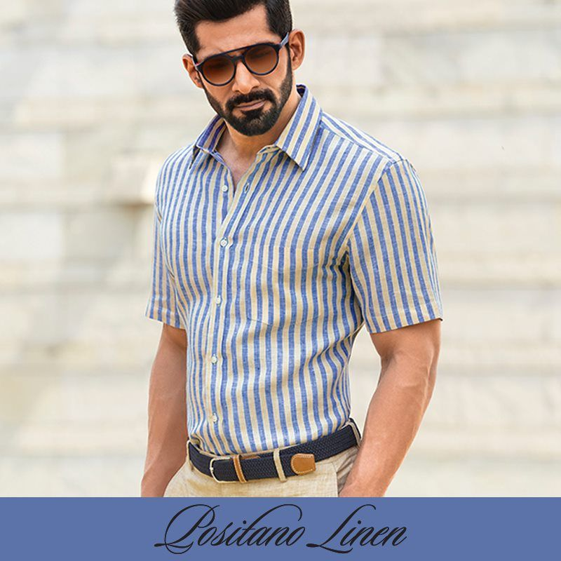 This 100 Pure Linen Shirt By Zodiac In Sunshine Yellow Mediterranean Blue Stripes Reminds Us Of The Amalfi Coas Yellow Shirts Mediterranean Blue Linen Shirt