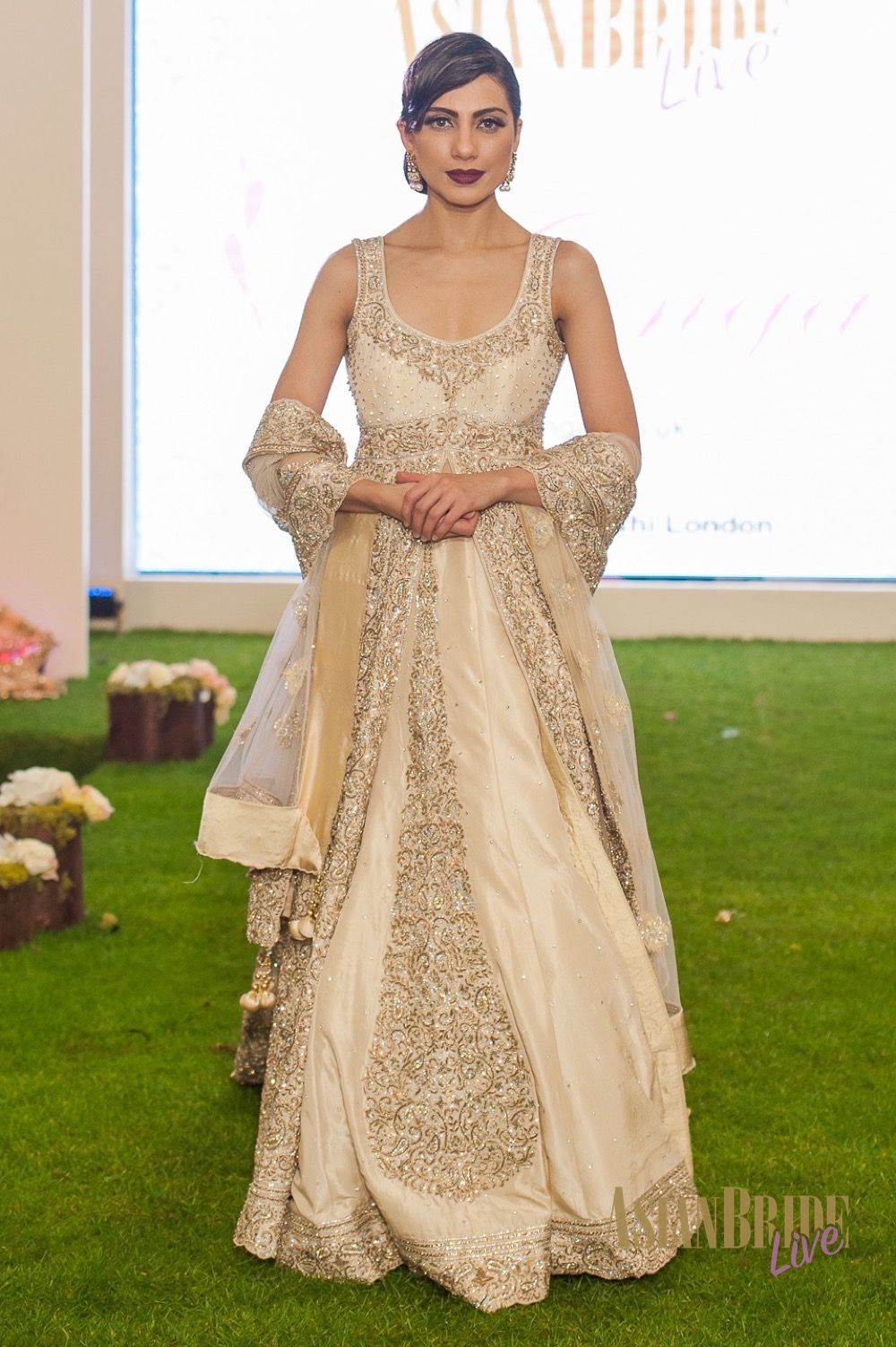 Gold Cream Bridal Lengha Dress Mongas Indian Pakistani Wedding