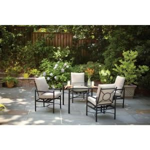 Hampton Bay Barnsley 5 Piece Patio Dining Set With Textured Silver Pebble  Cushions FSS61119RST
