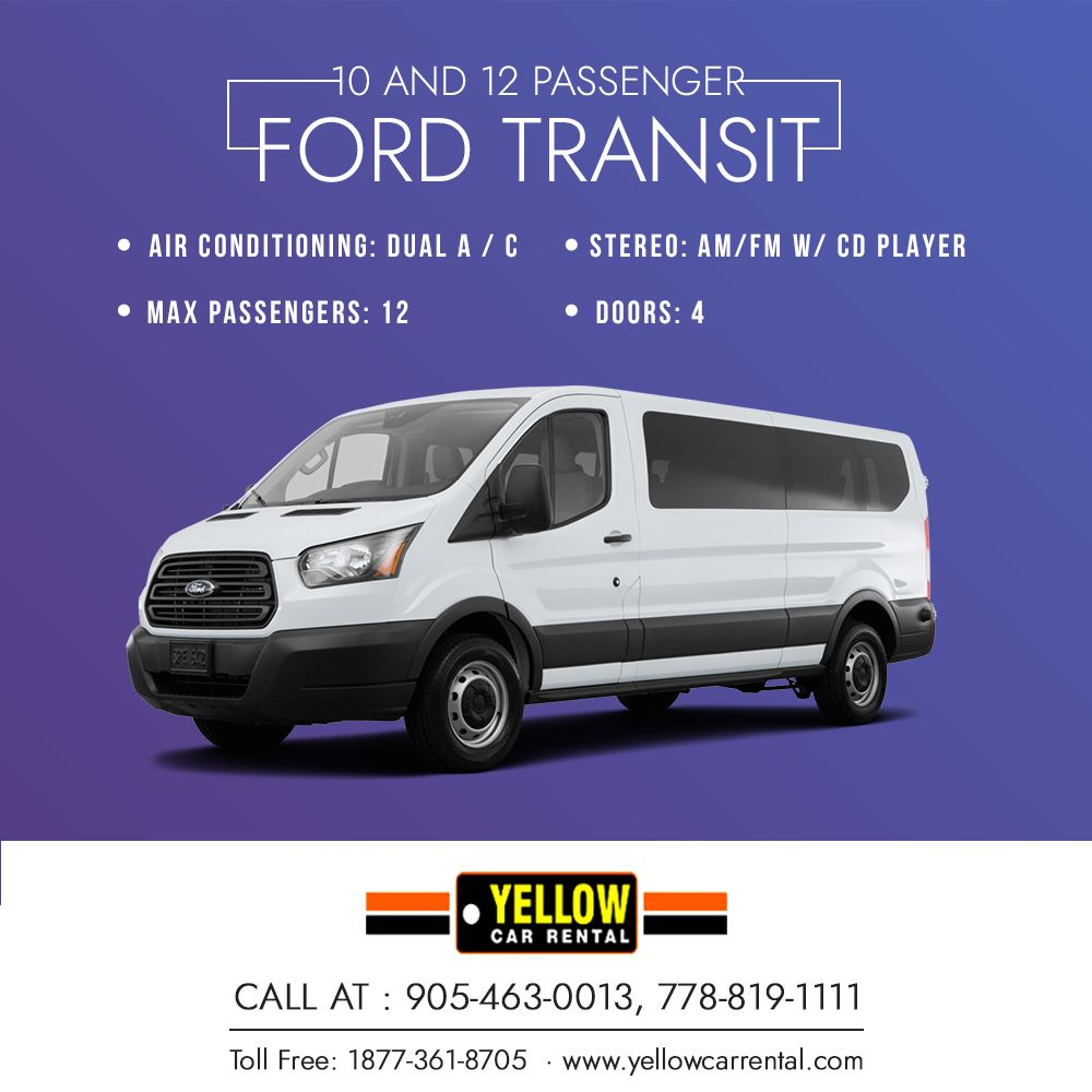 10 To 12 Passenger Van Rental Car Rental Yellow Car Van