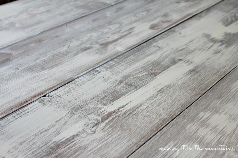 How To Whitewash Wood Making Over Our Pottery Barn Inspired Table Making It In The Mountains White Wood Stain Whitewash Stained Wood Whitewash Wood