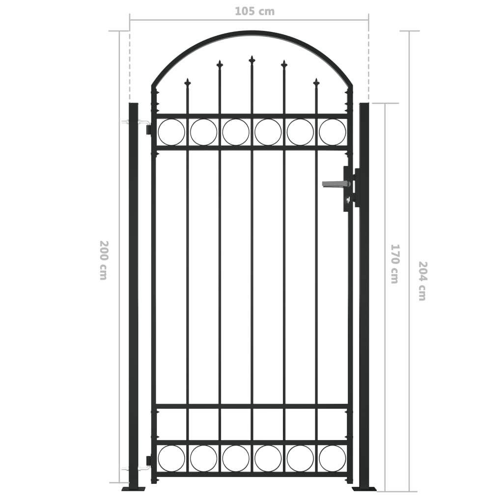 Fence Gate with Arched Top and 2 Posts 105×204 cm Black