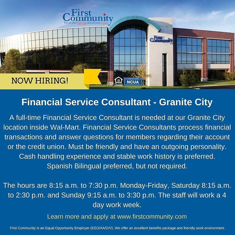 We're hiring! We have a fulltime Financial Service