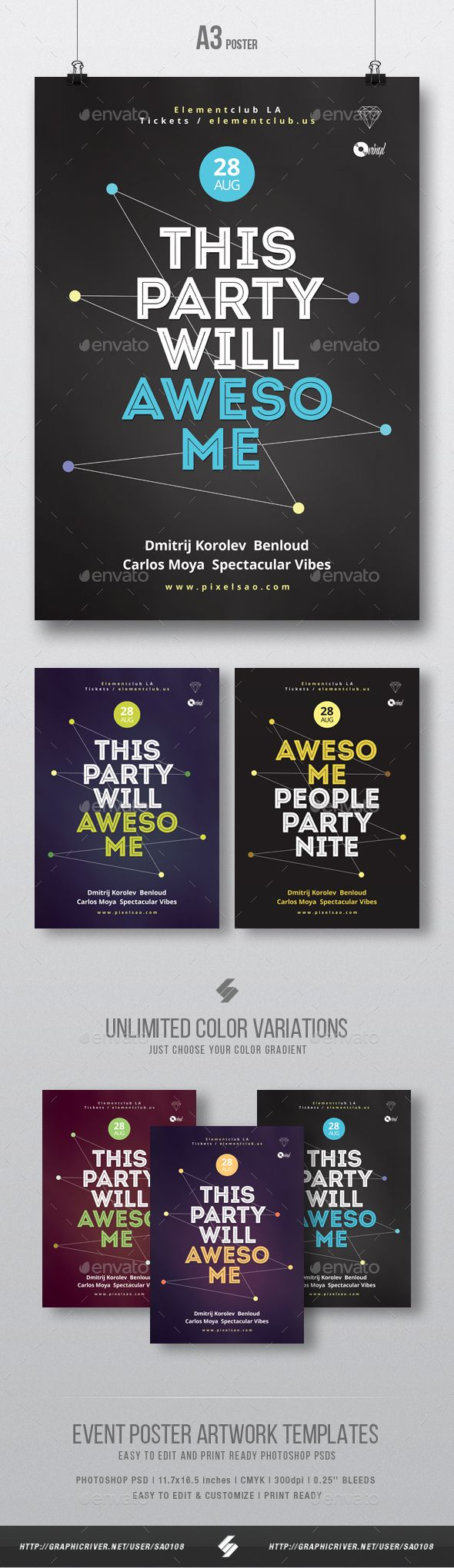 Awesome Party Night Creative Poster / Flyer Template A3 — Photoshop ...