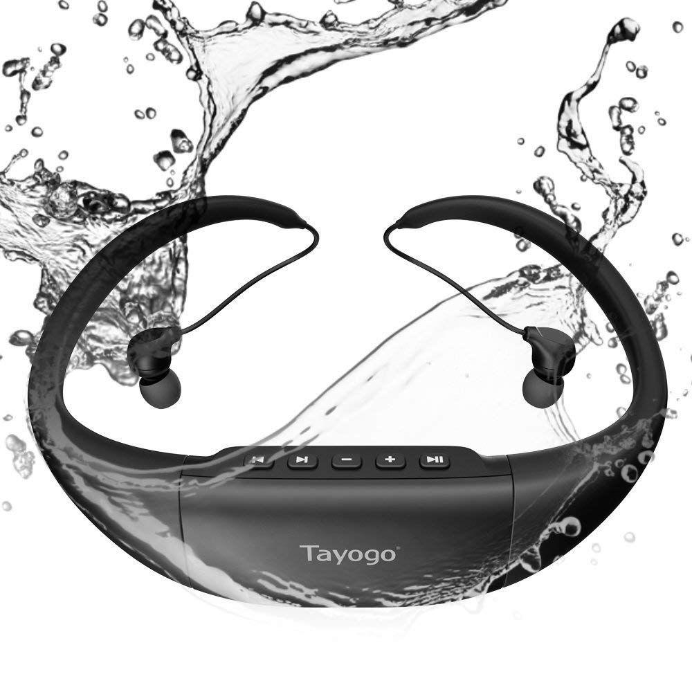 Tayogo Lecteur MP3 Etanche Casque Natation Hi Fi Stéréo