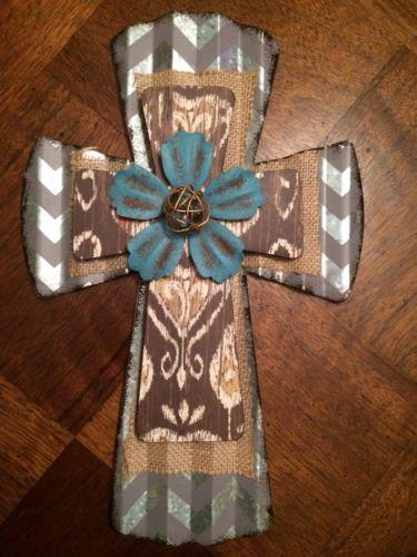 Best Wall Cross Corrugated Tin Metal Western Flower Ranch 400 x 300