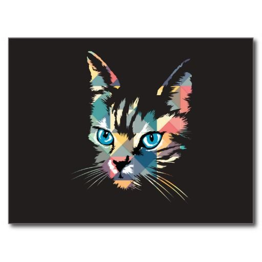 POP ART CAT POSTCARD