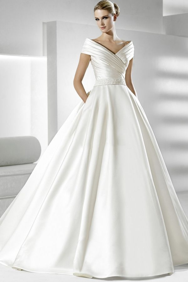 Graceful Ivory A line Off-the-shoulder Beads Waist Chapel Train Satin  Wedding Dress  178.99 167ed20dedce