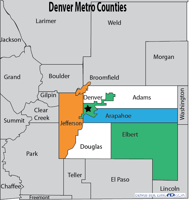 Metro Denver And Surrounding Counties Map Great Simplified - Denver county map