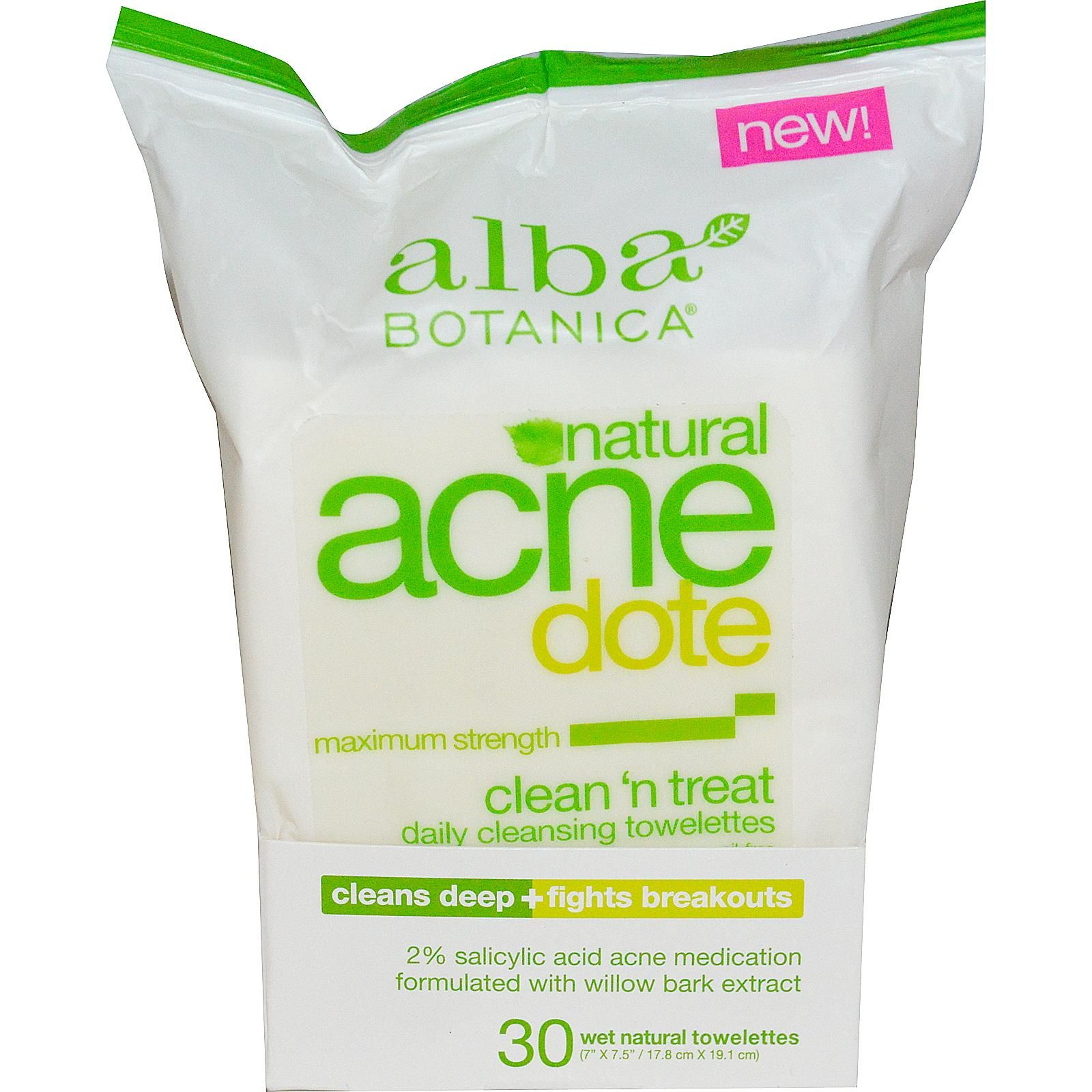 Alba Botanica, Acne Dote, Daily Cleansing Towelettes, Oil