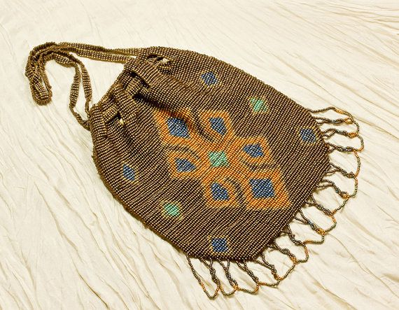 Art Deco, Great Gatsby Era, Steel Beaded Flapper Purse ;1920's  Drawstring Purse, Bronze With Orange & Turquoise, Gift For Her
