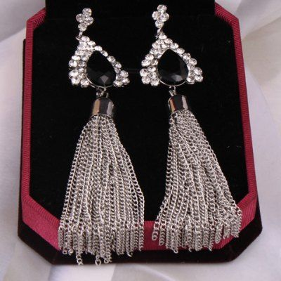 Pair of Classic Rhinestone Waterdrop Chain Tassel Earrings For Women #jewelry, #women, #men, #hats, #watches