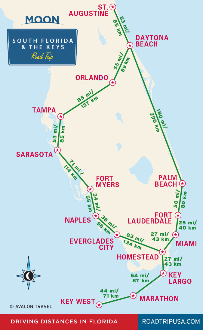 Florida Travel Guide Map.Driving Distances In Florida Travel Map From Moon South Florida