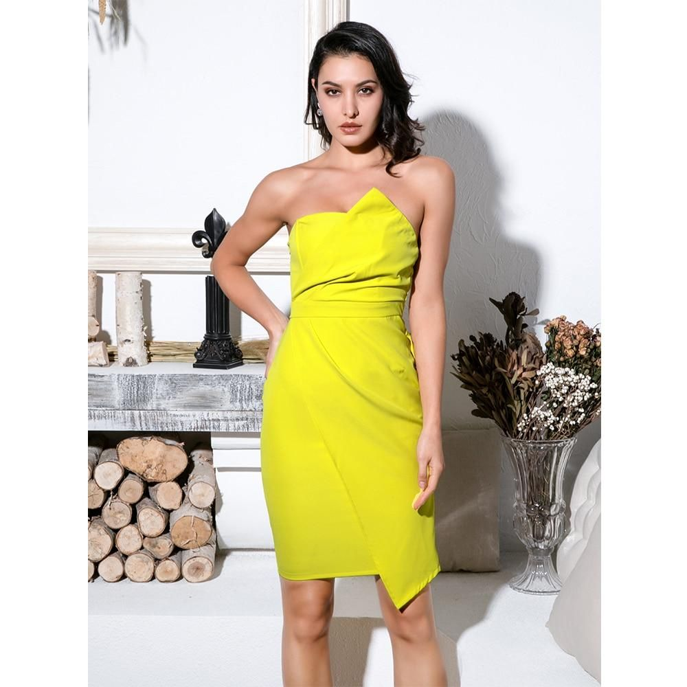 Yellow Strapless Party Dress Strapless Party Dress Dresses Party Dress [ 1000 x 1000 Pixel ]