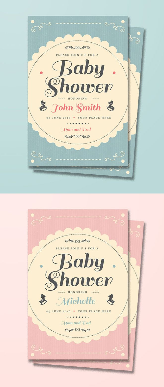 Vintage Baby Shower Invitation Card Template Ai Psd Baby