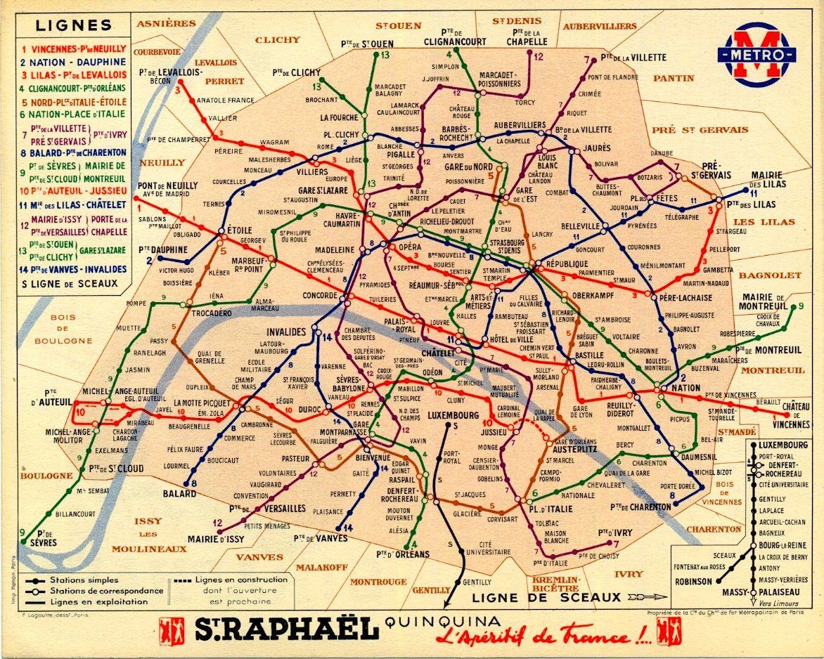 Paris Vintage Metro Map From 1939 Plan De Metro Plan Metro