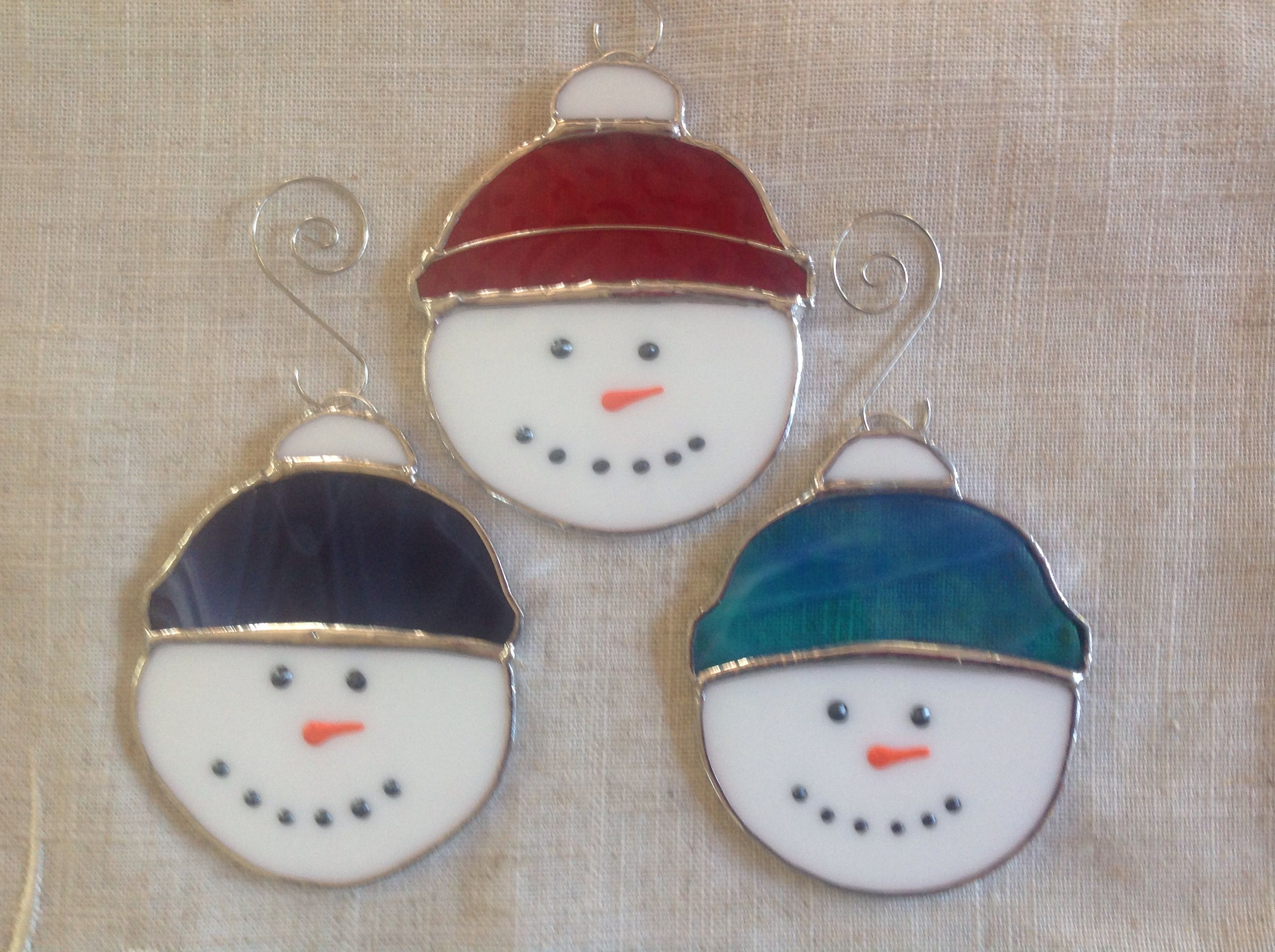 Stained Glass Snowman Ornaments Stained Glass Ornaments Stained Glass Christmas Stained Glass Diy