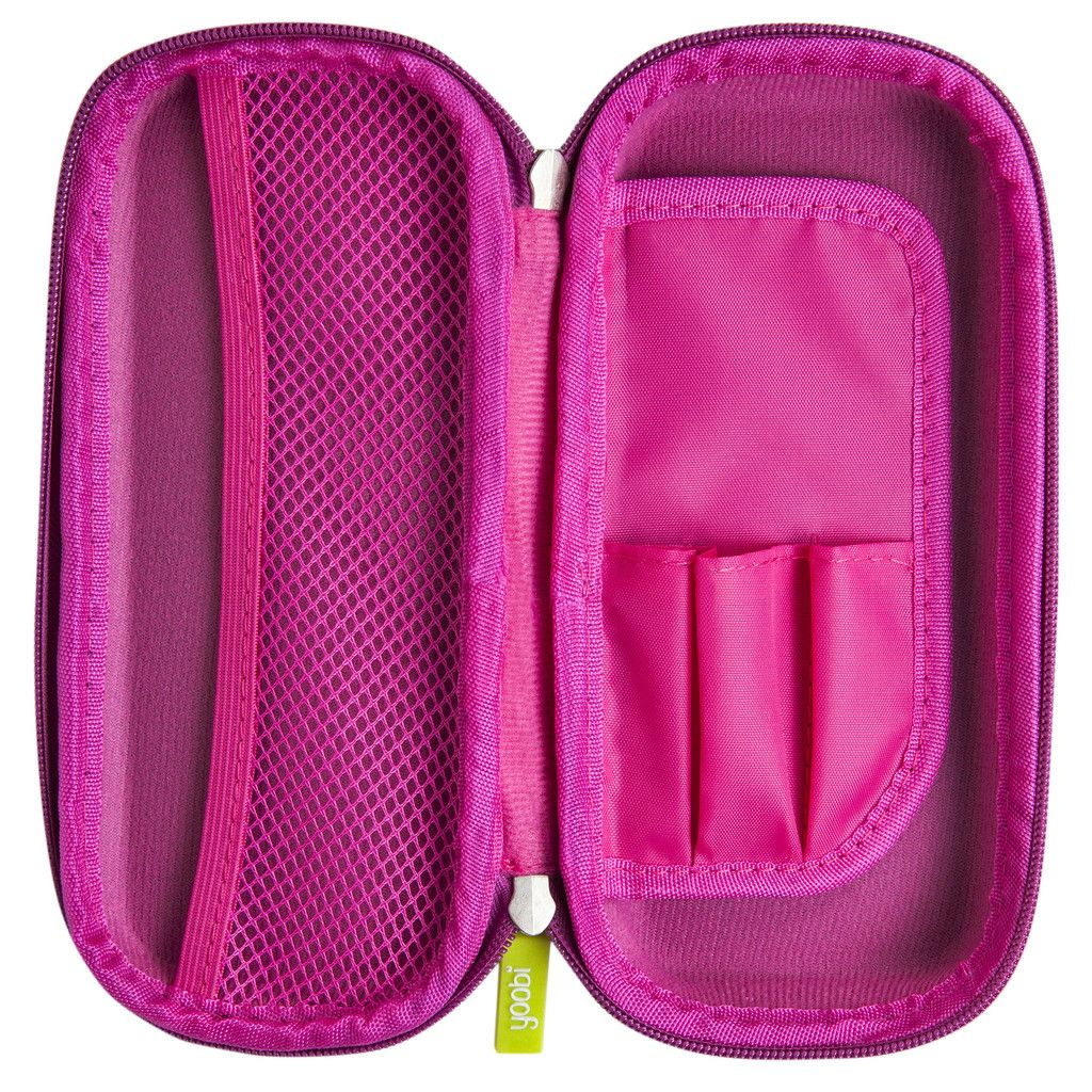 Girls Ladies Pink Pencil Case Triple Compartment Office School Pouch Dots Pink