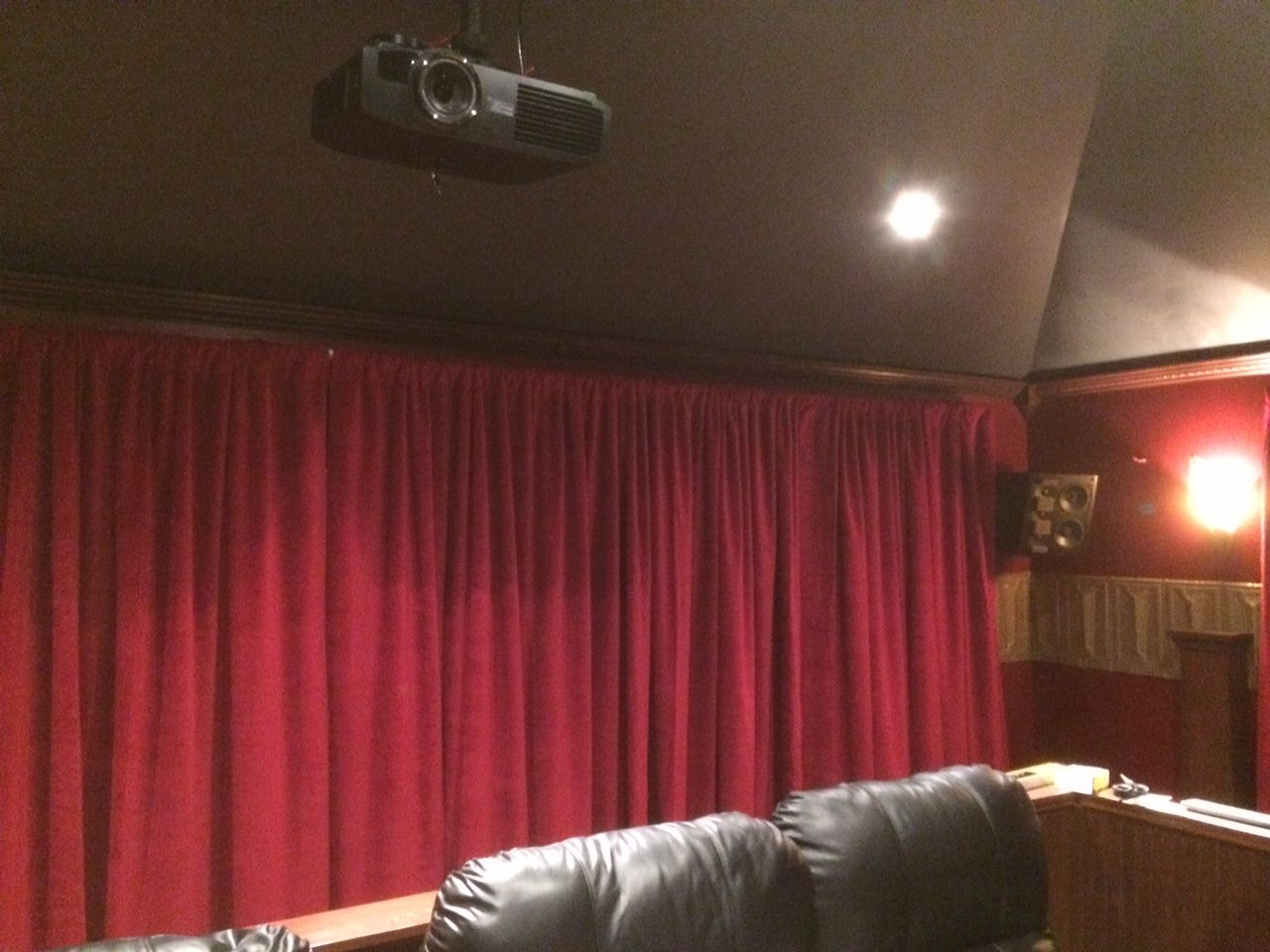 home theater red velvet curtain panel used to cover a 20 ft wide wall