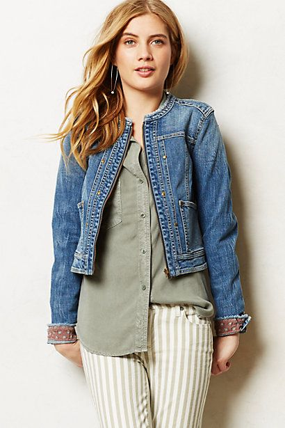 978d1d1baf8 Pilcro Collarless Denim Jacket Love Anthropologie! I had no idea that they  carried petites!