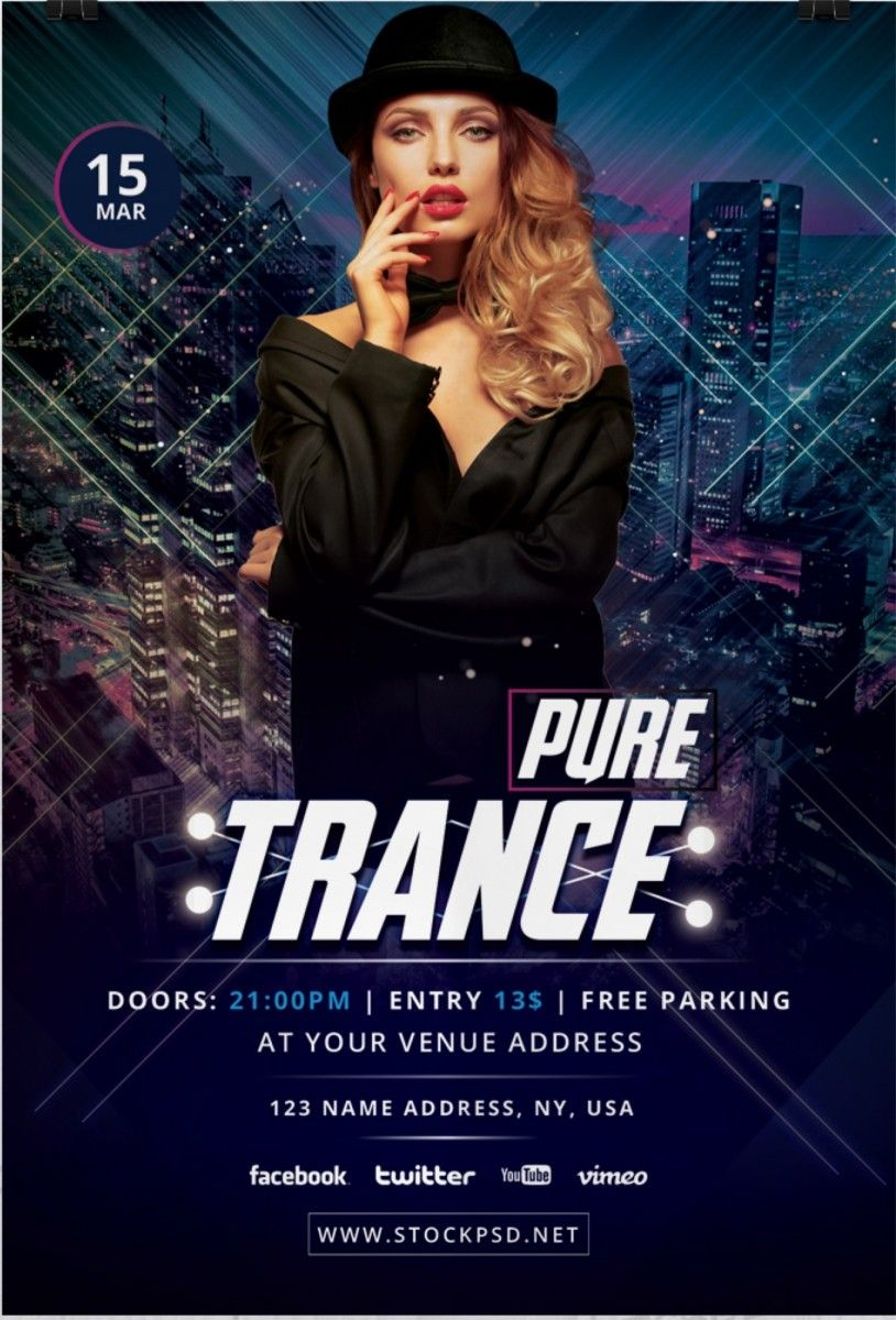 Pure Trance Download Free Photoshop Flyer Template Free Flyer