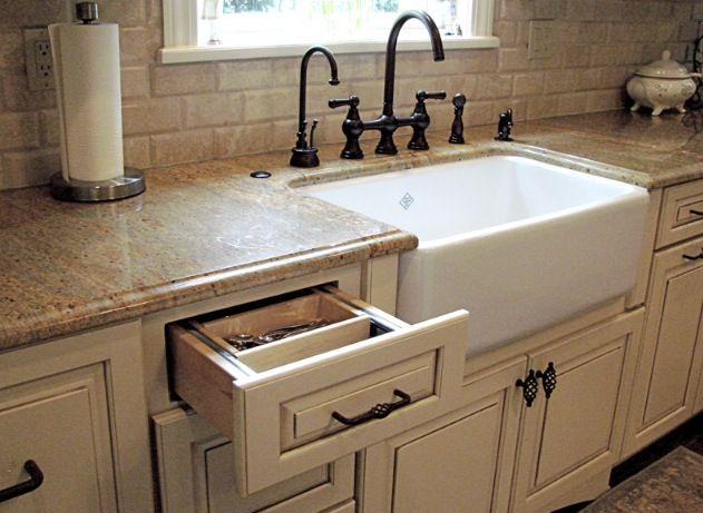 White Farmhouse Sink Quartz Counter Tops Irish Cream Cabinets