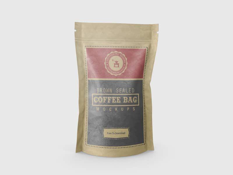 Download Brown Sealed Coffee Bag Mockups Free Bag Mockup Coffee Bag Coffee Bag Design