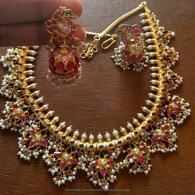 a328de72ed4dc Gold Plated Silver Guttapusalu Necklace Design | Necklace ...