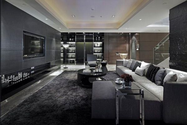 Luxurious Living Room Design With Black Grey Furniture And Grey Tiles On  Walls By Steve Leung Part 84