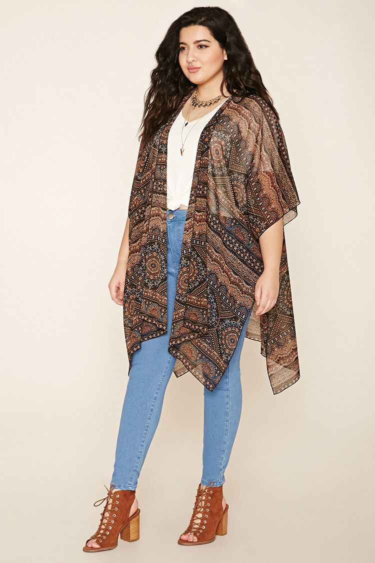9b489ac9c Forever 21+ - A sheer woven kimono with a longline silhouette, an open  front, an allover ornate print, short sleeves, and side slits.