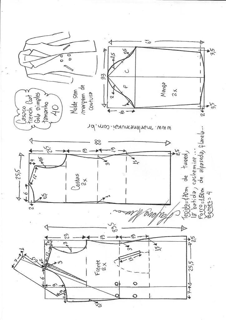 Casaco gabardina gola simples - Bricolaje - molde, corte y costura ...