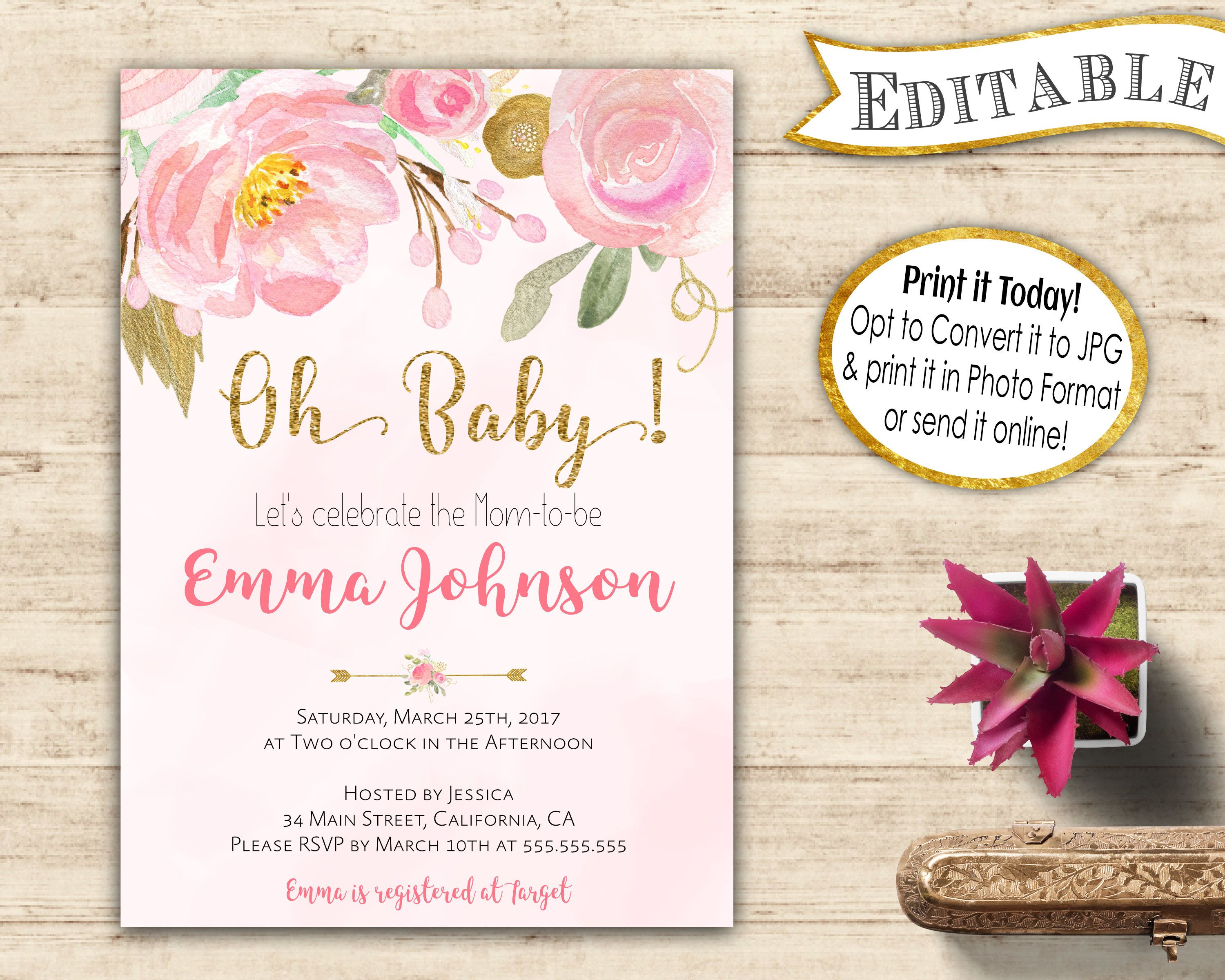 oh baby shower editable invitation instant download editable baby
