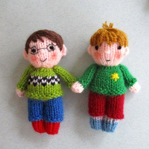10 CUTE LITTLE KIDS - toy doll knitting pattern - Dolls house size ...