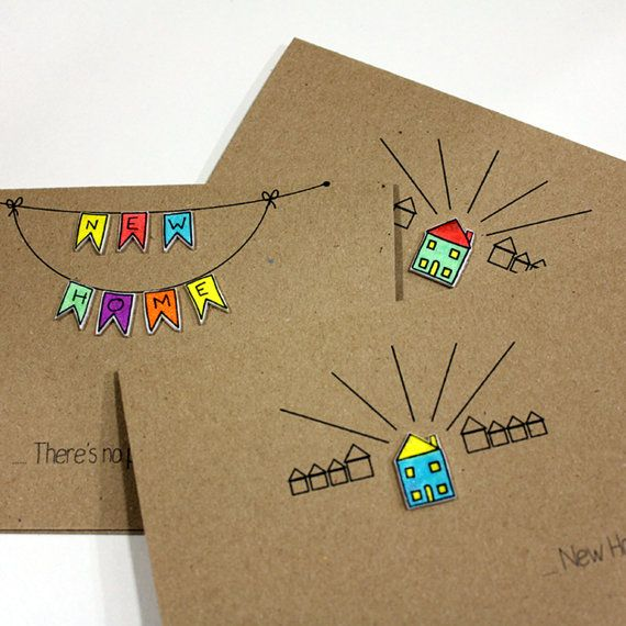 Personalised New Home Card With Handmade Little House