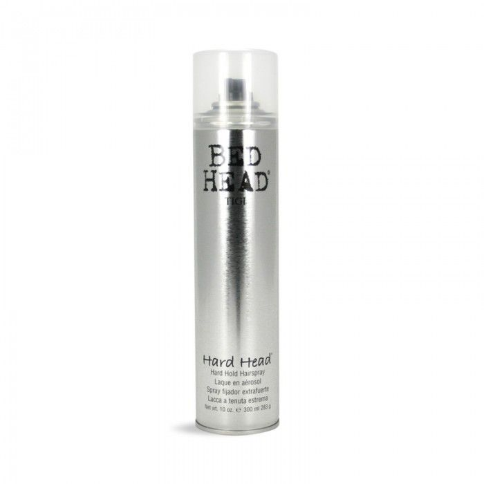 TIGI BED HEAD HARD HEAD SPRAY 300ML - Relentless hold and control dries instantly! The more you use the harder it gets. Suitable for any lenthg hair and texture.
