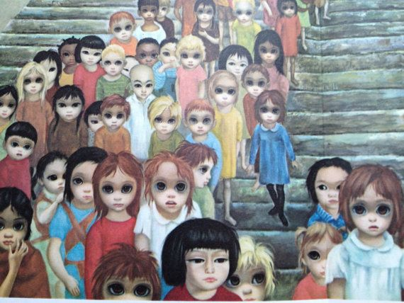 Tomorrow Forever Margaret Keane Big Eye Girl Lithograph Print 1963 Large Folded