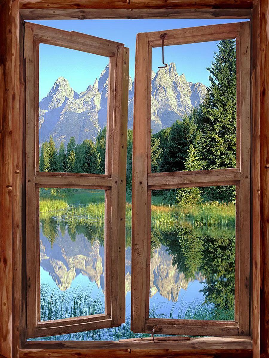 Mountain Cabin Window Peel U0026 Stick Wall Mural 36 Inches Wide X 48 Inches  High   Wall Decor Stickers