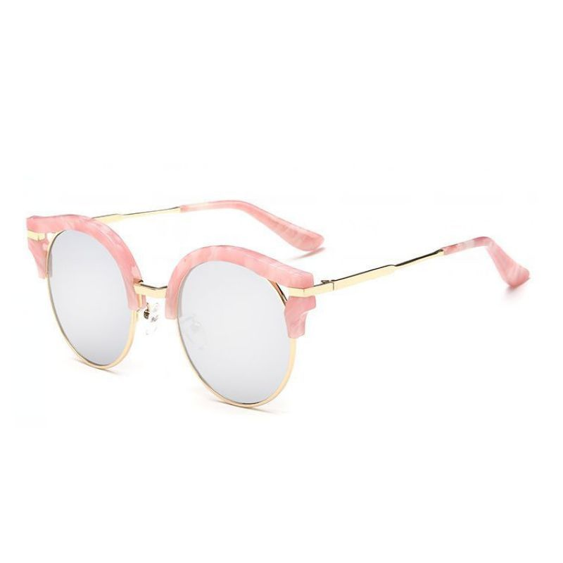 1a68a3071 Classic Round Lens Cat Eye Sunglasses Gold-Tone Metal Marble Pink Frame  Silver Polarized Lens