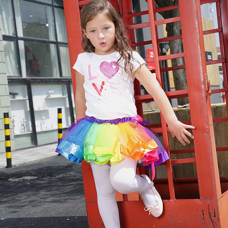 XEDUO Girls Tutu Tulle Party Dance Ballet Skirt Kids Baby Rainbow Costume Skirt